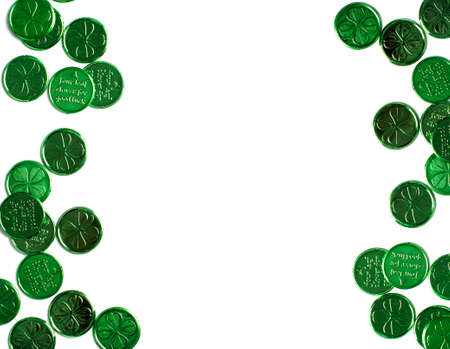 St Patricks Day green background with copy space.