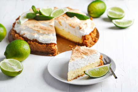 Key Lime Pie. Citrus pie with meringue.