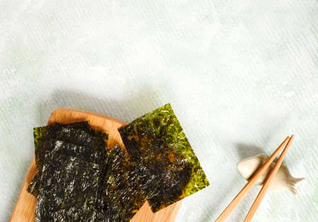 Japanese or korean roasted seaweed snack. Roasted Dried Seaweed, Healthy Snack, copy space