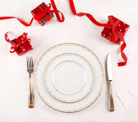 Christmas table place setting. Holidays background, copy space Stock Photo