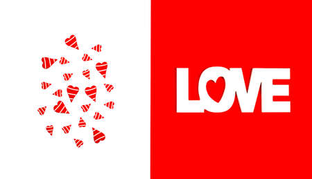 Word love and red hearts. Valentines day concept Stock fotó - 136725332