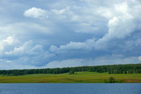 water's edge: Landscape Lake, forest, sky, water