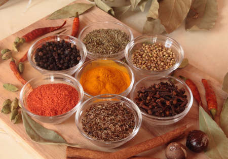 acute: spices on the table, useful for acute