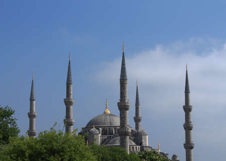 minarets: beautiful minarets on background of green trees,