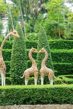 africa kiss: sculpture in the shape of a heart giraffes, giraffes kissing