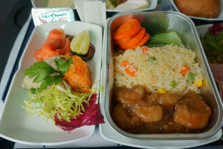 food tray: delicious food and drinks on the plane