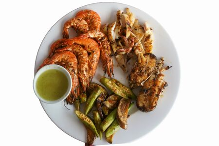 delicious shrimp and seafood a plate