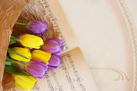 musical notes and  beautiful tulip flowers, bouquet Stock Photo