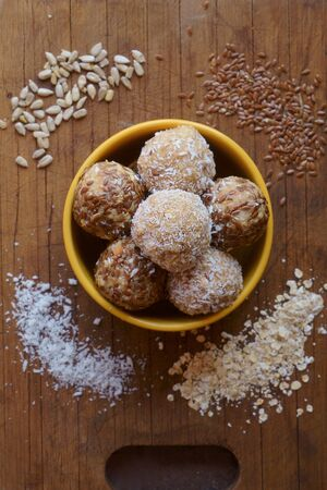 energy ball of oatmeal, coconut, flaxseeds, fruit,  image horizontal orientation, no body Stok Fotoğraf
