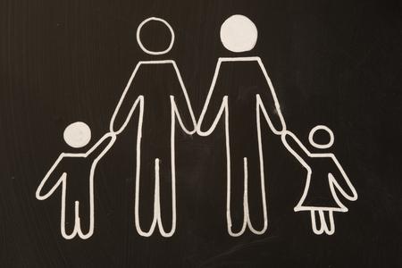 happy family: happy family on blackboard