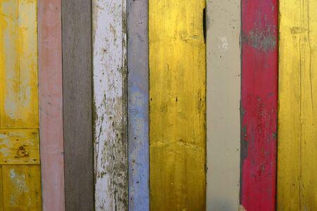 shelfs: colored wood, mixed painted shelfs