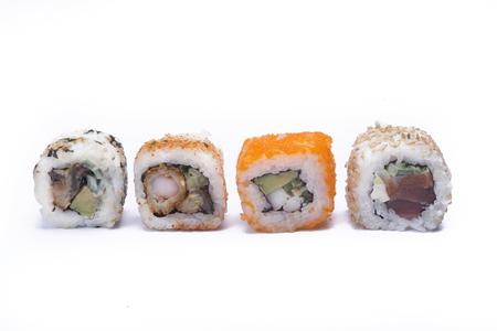 chop stick: assortment sushi isolated on white background