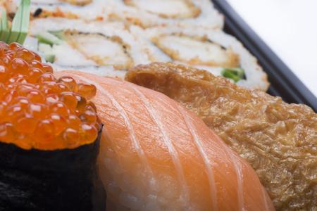 assortment: assortment whit mixed sushi Stock Photo