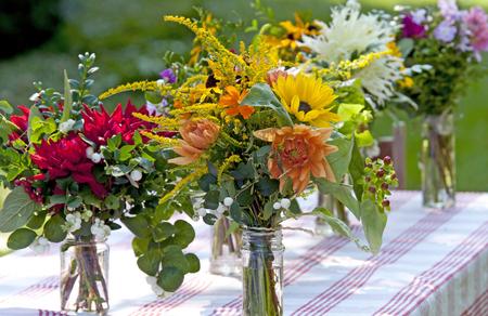 garden bouquet with Dahlias on garden table, The Netherlands
