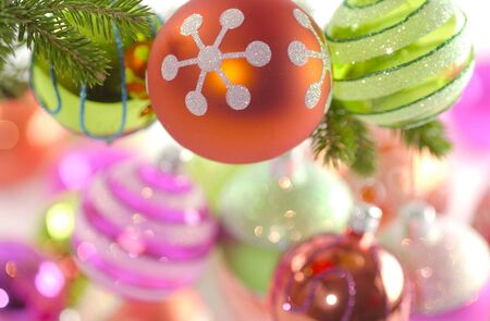 chrismas: colorful Chrismas decoration on a white background Stock Photo