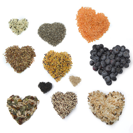 sunflowerseed: superfood hearts isolated on white background