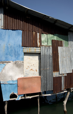 corrugated iron: corrugated iron house at fishermansvillage Kho Kood Thailand