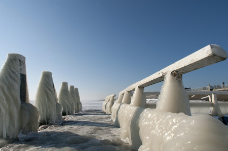 guardrail: frozen icecicles on a guardrail, The Netherlands