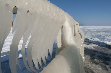 superiors: frozen icecicles on a guardrail, The Netherlands