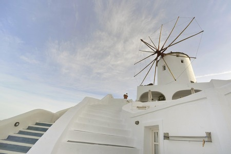 oia: mill at traditional white village Oia Santorini Stock Photo