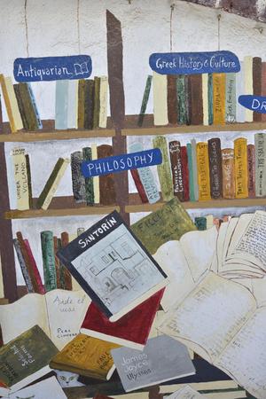 philosophic: bookstore in village Oia at Santorini island, Greece