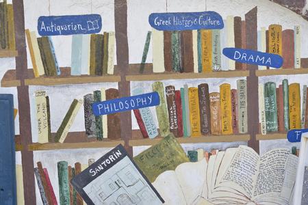 bookstore in village Oia at Santorini island, Greece