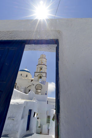 santorini island: Traditional village Pyrgos at Santorini island, Greece