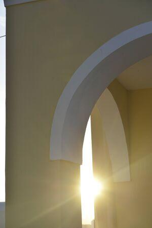 trough: sun trough cupola chapel at Santorini island, Greece Stock Photo
