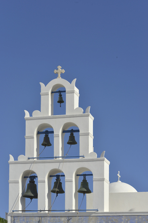 santorini island: Beautiful Chapel Oia at Santorini  Island Greece Stock Photo