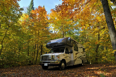 scenic drive: roadtrip with motorhome in Indian summer Ontario Canada Stock Photo