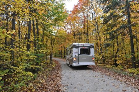 roadtrip with motorhome in Indian summer Ontario Canada 写真素材