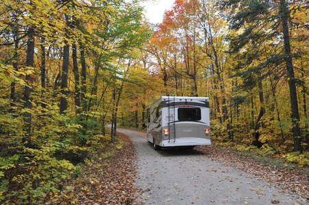 provincial forest parks: roadtrip with motorhome in Indian summer Ontario Canada Stock Photo