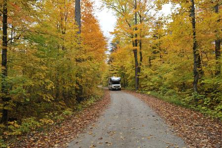 roadtrip: roadtrip with motorhome in Indian summer Ontario Canada Stock Photo