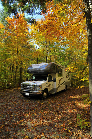 roadtrip with motorhome in Indian summer Ontario Canada Stock Photo