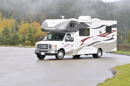 roadtrip with motorhome in Indian summer Quebec Canada