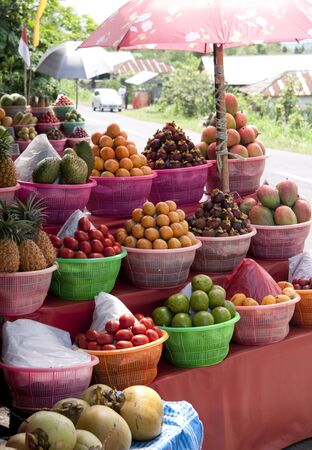 frash: Beautiful frash and colorful fruits at fruitmarket Bali Indonesia Stock Photo