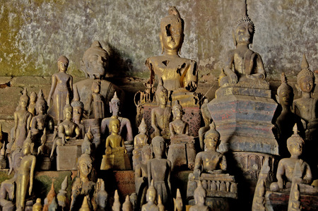 ou: Buddha statues in the Pak Ou caves Laos