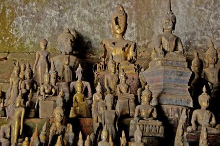 ou: Buddha statues in the Pak Ou caves Laos