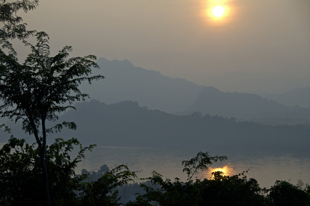 mekong river: Mekong river Thailand-Laos with mountain and sunset Stock Photo