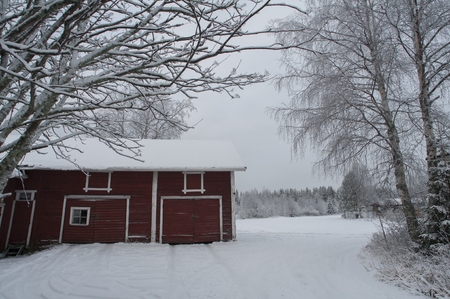 Typical red barn in white snow Finland