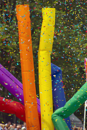 prinsengracht: Amsterdam, Netherlands - August 1, 2015: decorated boat at the annual event for the protection of human rights and civil equality - Gay Pride Parade on the Prinsengracht, Amsterdam Stock Photo