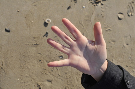 counting five: hand counting five on the beach with sand in the background