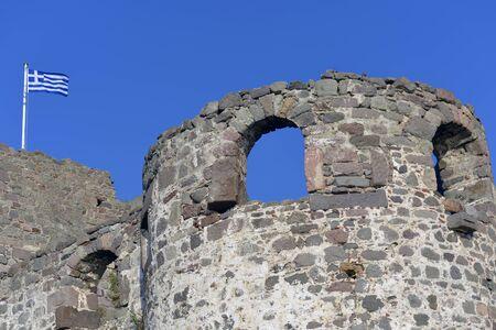 beautifu: Beautifu old Molivos Castle Lesvos Greece on top of the hill