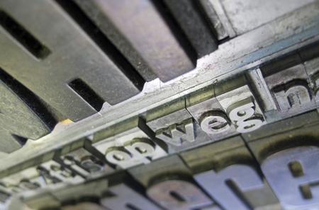 sentence typescript: vintage letters from vintage press on vintage background Stock Photo