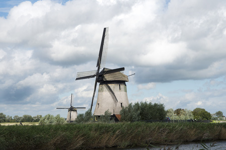 schermerhorn: two windmills in Schermerhorn the Netherlands Stock Photo