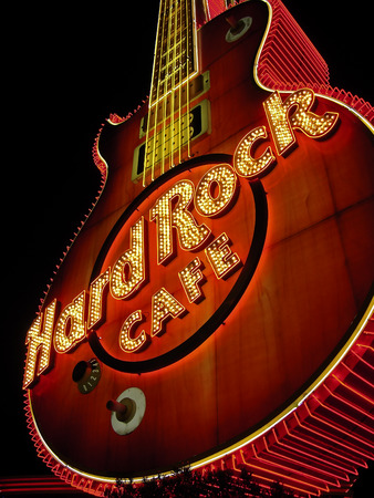 hard rock cafe: Las Vegas - september 14 - Guitar at entrance to Hard Rock Cafe on Paradise Rd. Its the original Hard Rock Cafe Las Vegas; opened in 1990.