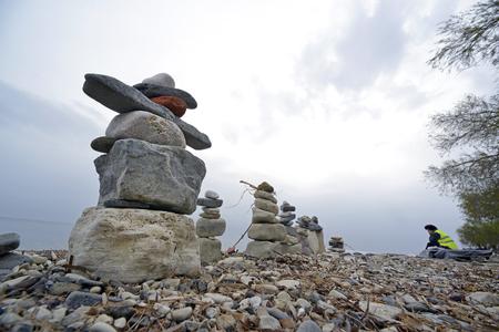 pile of stones at shore near Mytilene Lesvos