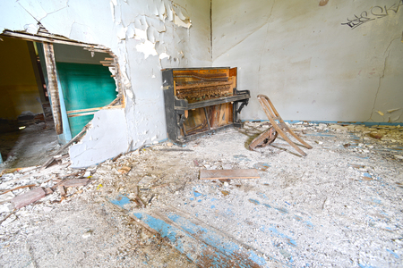 broken chair: broken piano and chair in abbondoned house Lesvos Greece