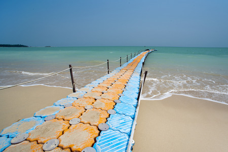 colorful plastic dock with sea background at Khaolak Thailand Stock Photo