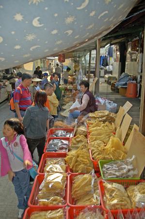 Hongkong, China, 04 December 2006: Food and fish market at beautiful traditional fischermans village Tai O, behind the big city Hongkong.